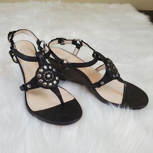 Coach Harper Sz 10 Black Leather Wedge Sandals